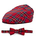 Born to Love Baby Caps and Bow tie (Simple Or Sets) (XXS 46cm 6-12m, red Plaid Set)