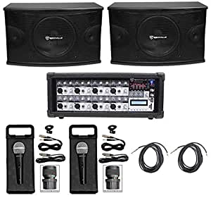 "Pair Rockville KPS10 10"" 3-Way 1200 Watt Karaoke/Pro Speakers+Amplifier+(2) Mics"