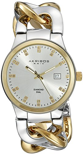 Akribos XXIV Women's AK608TTG Swiss Quartz Movement Watch with Silver Dial and Two Tone Bracelet