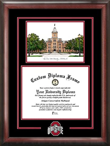 Ohio State University Spirit Graduate Frame with Campus Image - University Spirit Diploma Frame