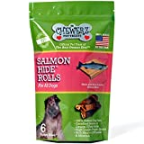 Chewerz SALMONHIDE ROLLS For Dogs – Pure Wild Alaskan Salmon Skins Made in USA Only – Best Fish Skin Jerky Dog Treats Loaded with Omega 3 Fatty Acids & Oil Helps Pets Look & Feel Great