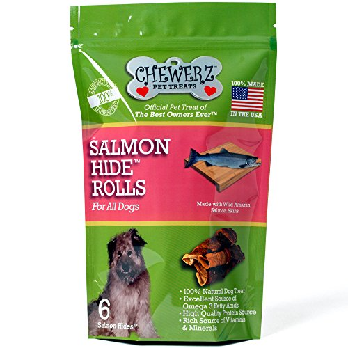 Chewerz SALMONHIDE ROLLS For Dogs – Pure Wild Alaskan Salmon Skins Made in USA Only – Best Fish Skin Jerky Dog Treats Loaded with Omega 3 Fatty Acids & Oil - Apps Usa