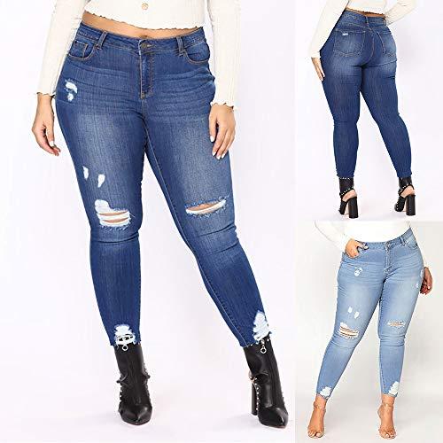 Gradient Rgulier Beikoard Ripped Hole Slim Jeans Jogging Long Asymtrique Taille Bleu Denim Jeans Femmes Plus pour Grande Pantalon Fonc Femme Pantalon Size Xqq0S7r