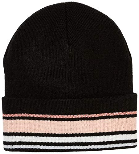 Under Zero Women's Black Pink Striped Acrylic Knit Beanie Skullies Hat ()