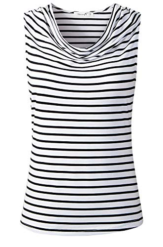 HieasyFit Women's Stripe Cowl-Neck Draped Sleeveless Tank Tops Black/White stripe1 XL