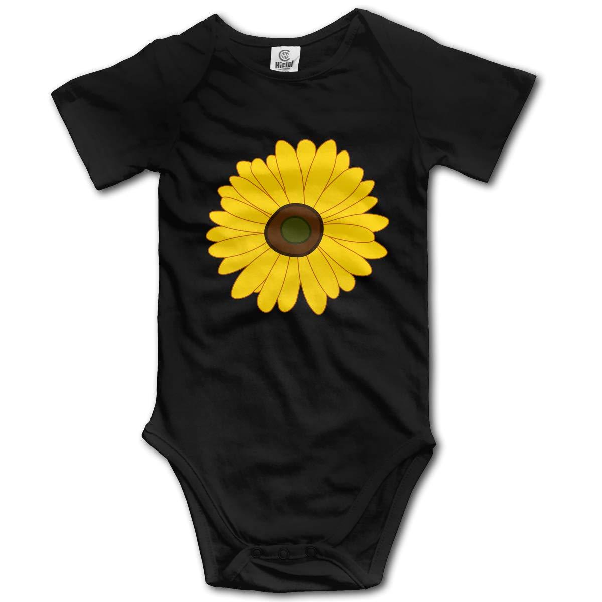 CDHL99 Sunflower Unisex Solid Baby Short Sleeve Bodysuit Rompers 0-24M