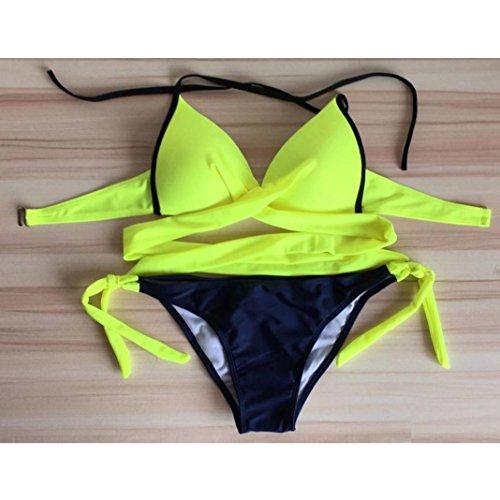 Cross Obermaterial Bademode Set Bikini Badeanzug Pinkycolor Gelb Bikini Strap Damen Split Solide Split Polyester Pinkycolor Cross Strap Beachwear Tatis vZYxqw
