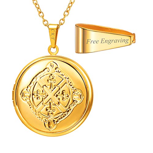 U7 Locket Necklace That Holds Picture Oval/Round Shaped Flower Pattern Photo Lockets Pendant for Women Girls, Chain 22 Inch (D Gold Egyptian Ankh Cross Pattern Customized)
