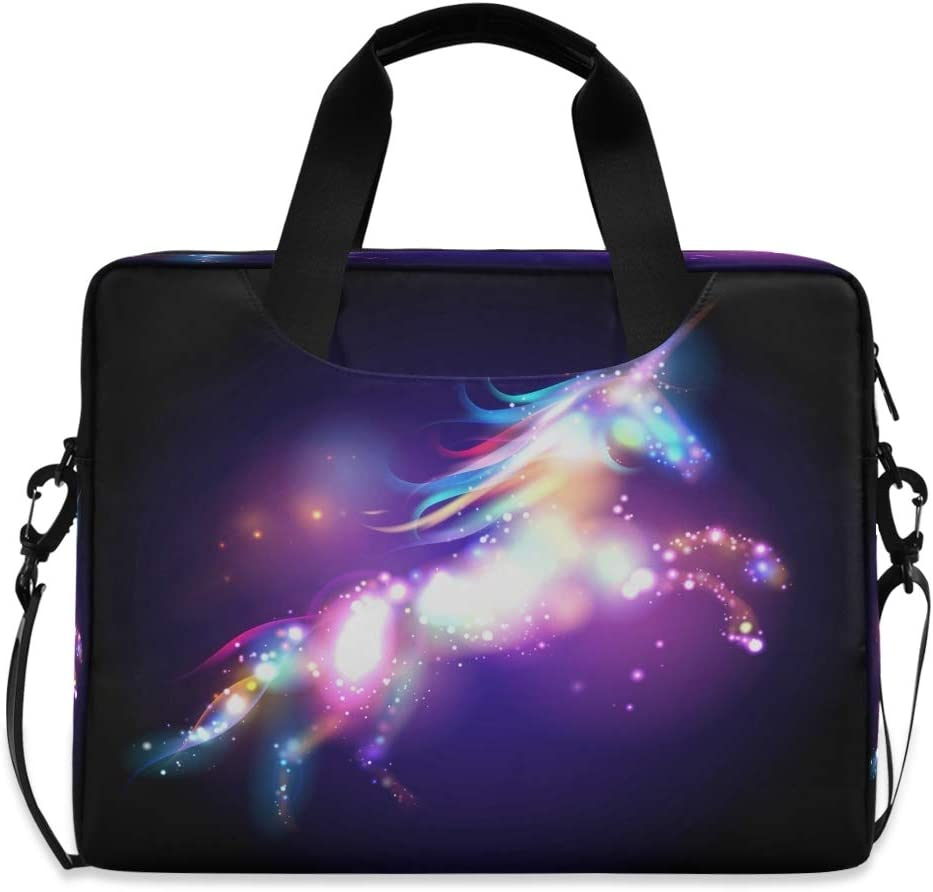Yulife Magic Unicorn Galaxy Laptop Bag Sleeve Case for Women Men Starry Horse Briefcase Tablet Messenger Shoulder Bag with Strap Notebook Computer Case 14 15.6 16 Inch for Kids Girls Business School