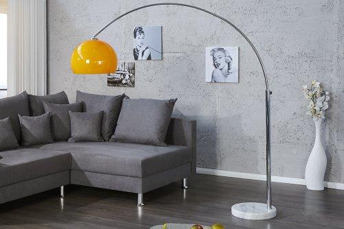 Design Bogenlampe LOUNGE DEAL orange Marmorfuss 175 - 205cm ausziehbar