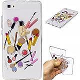 Qiaogle Phone Case - Soft TPU Silicone Case Cover Back Skin for Huawei Ascend P8 Lite / P8 Mini (5.0 inch) - HC10 / Lip gloss + eyebrow pencil