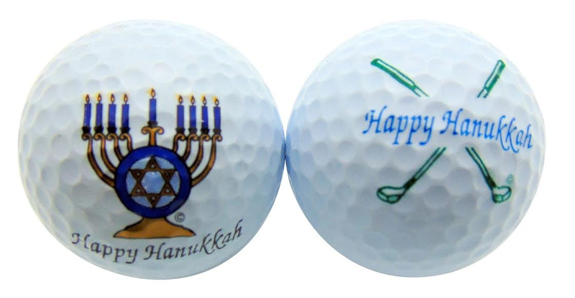 Happy Hanukkah Menorah & Clubs Set of 2 Novelty Golf Ball Fun Golfing Gift for Golfer