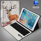Vivefox New iPad 9.7 Keyboard Case 2018 - 2017/2018 iPad Folio Stand Cover with Keyboard Case for Apple iPad 2018, iPad 2017, iPad Pro 9.7, iPad Air 2 and Air (Cute Deer)