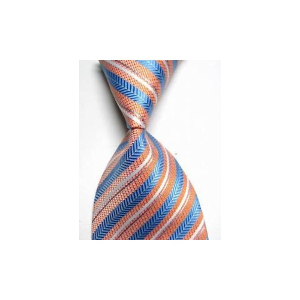 TS100 azul naranja rayas de nuevo seda tejida hombre corbata ...
