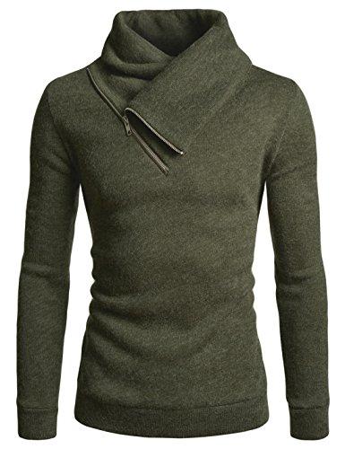 NEARKIN (NKNKKT731 Mens Fleece Lined Sweatshirt Zip Turtleneck Slim Cut Knit Sweater Khaki US L(Tag Size ()