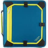Five Star 2 Inch Zipper Binder, 3 Ring Binder, Expansion Panel, Durable, Teal/Chartreuse (29052IH8)