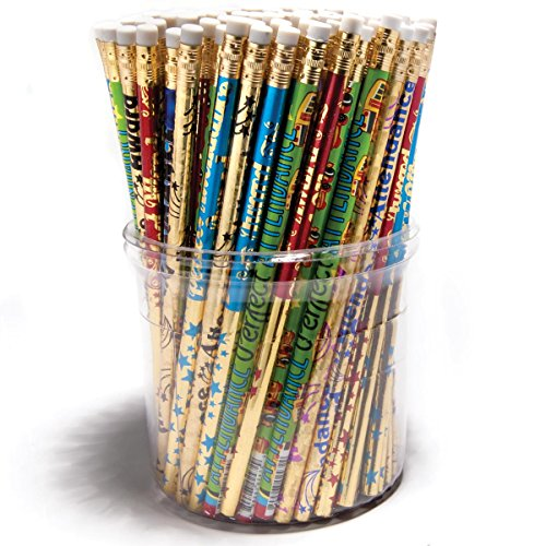 Attendance Pencil Tub, 144-Piece #2 Pencils, Assorted Designs and Colors ()