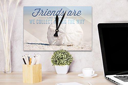 Friends-are-Like-Seashells-Sand-Dollar-Acrylic-Wall-Clock