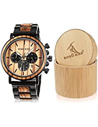 Wooden Mens Watches Large Size Stylish Wood & Stainless...