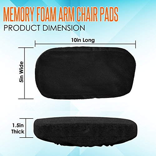 Memory Foam Arm Chair Pads for Home and Office - Perfect Density Cushions - Premium Quality - Washable Covers - Therapeutic Armrest Support - Extra Thick - Elbow & Relief - Universal Fit (Set of 2) by Grand House (Image #6)