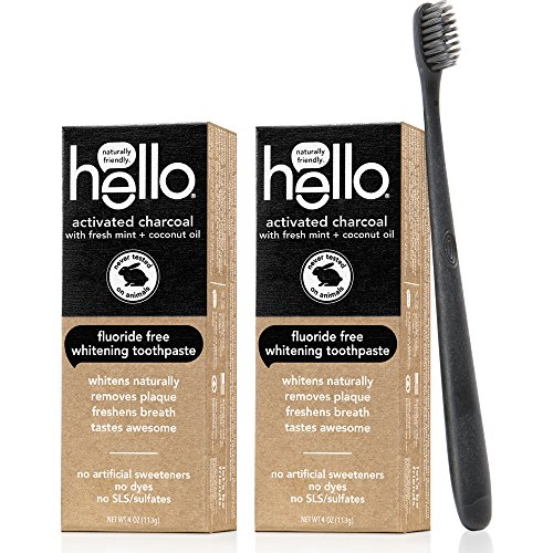 Hello Oral Care Activated Charcoal Fluoride Free Whitening Toothpaste Twin Pack with Black BPA-Free Toothbrush by Hello Oral Care (Image #1)