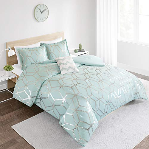 (Comfort Spaces Vivian 3 Piece Comforter Set Ultra Soft All Season Lightweight Microfiber Geometric Metallic Print Hypoallergenic Bedding, Twin/Twin XL, Aqua/Silver )