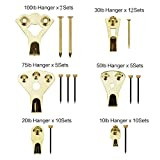 Picture Hangers, Coologin 120 Pieces Professional Photo Frame Hooks, Heavy Duty Picture Hanging Kit with Nails for Wall Mounting, Holds 10-100 lbs,Golden
