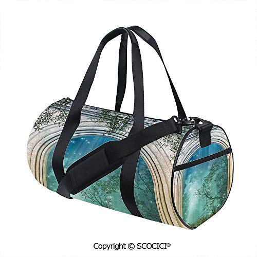 Unisex Cylinder Sports Bag,Magic Ancient Curved Door in the Forest Mystic Surreal Nature World PrintEasy to Carry,(17.6 x 9 x 9 in) Blue Beige