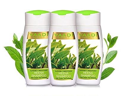 Value Pack de 3 herbario de maravilla de alisar Heena Champú con extracto de té verde