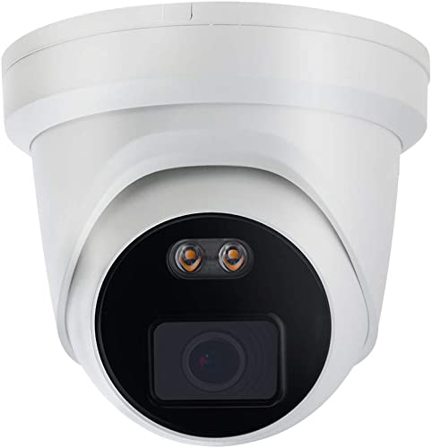 4MP Full-color Night Vision POE IP Camera Turret, OEM ColorVu DS-2CD2347G1-L U 4mm Lens, Built-in Audio, MicroSD Recording, IP66 Outdoor Network Surveillance Security Camera Compatible with Hikvision