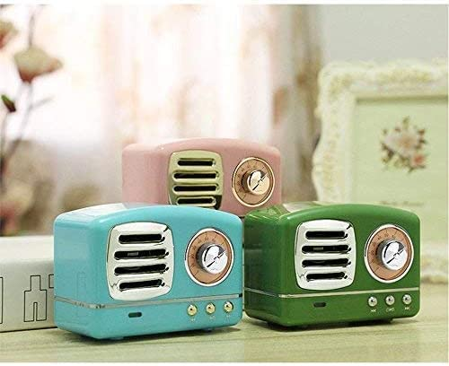 Dosmix Wireless Stereo Retro Speakers, Portable Bluetooth Vintage Speakers with Powerful Sound, Answering Calls, Alexa Support, TF Card, AUX for Kitchen Bedrooms Party Outdoor Android iOS Pink 51FW4IKI7mL