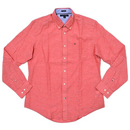 Tommy Hilfiger Mens Cotton Linen Buttondown Shirt (S, Red)