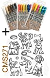Ranger Tim Holtz 18 Distress Crayons (ALL 3 Sets) PLUS Crazy Dogs Stamp CMS271
