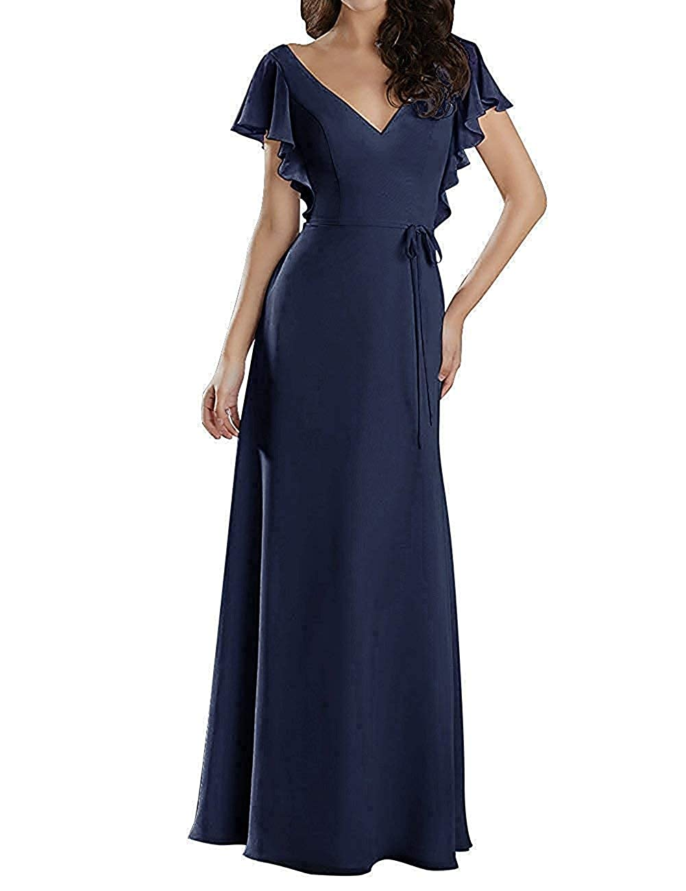 Navy bluee Mother of The Bride Dresses Plus Size Long Evening Gown with Short Sleeves Mother Dress for Wedding