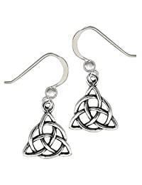 Sterling Silver Celtic Knot Dangle Triquetra Earrings