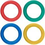 New Kids Outdoor Play Ring Garden Throwing Game Pack Of 4 Quoits Coloured Hoops