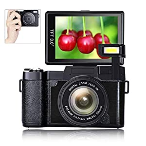 Digital Camera Vlogging Camera Full HD1080p 24.0MP 3.0 Inch Flip Screen Camera for YouTube