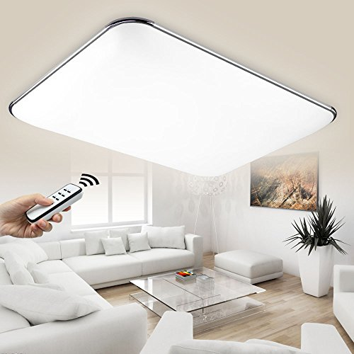 NatsenR LED Deckenlampe Modern Wandlampe Wohnzimmer Silber 36W Voll Dimmbar Fernbedienung Chrom I503Y Amazonde Beleuchtung
