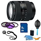 Sony SAL16105 16-105mm f/3.5-5.6 Wide-Range Zoom Lens Essentials Kit. Kit Includes Lens, Filter Kit, 8 GB Memory Card, 3 Pcs. Lens Cleaning Kit, Lens Cap Keeper, and Professional Blower / Dust Removal System.