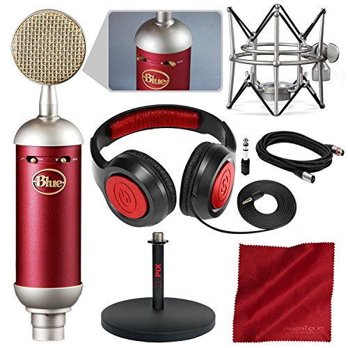 Blue Spark SL Large-Diaphragm Studio Condenser Microphone with Xpix Studio Desktop Mic Stand, Closed-Back Headphones, and Basic Bundle