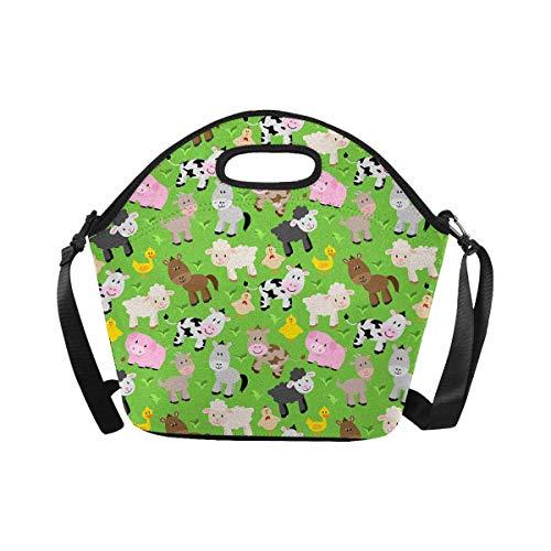 InterestPrint Large Insulated Neoprene Lunch Bag Farm Animal Barnyard Lunchbox Handbag with Shoulder - Lunch Barnyard
