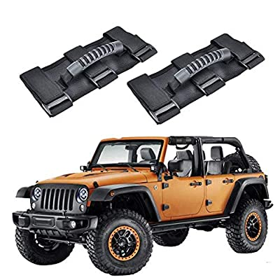 AnnBay Roll Bar Grab Handles, Heavy Duty Wrangler Jeep Grip Handle Set, Easy-to-Fit Triple Banded for Security 1955-2020 Models, Safe Adventure Experience Car Accessory (Pack of 2): Automotive