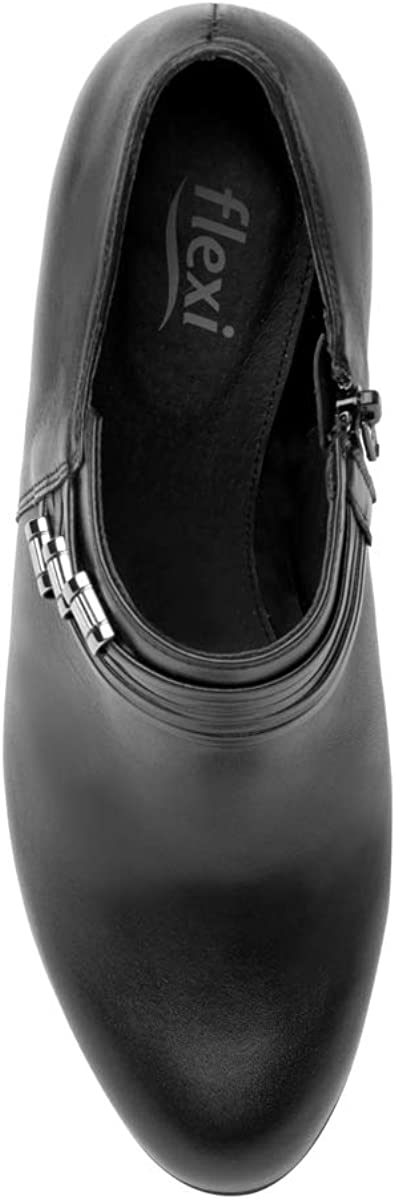 flexi Dolores Women's Genuine Cowhide Leather Short High Heel Ankle Boot | 41802 Black