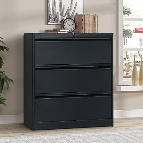 (ModernLuxe Lateral File Cabinet 3-Drawer with Lock and Key)