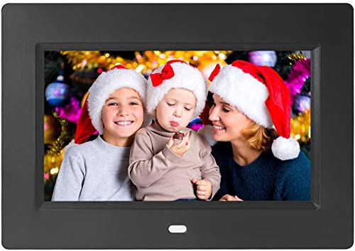 7 Inch Digital Photo Frame Digital Picture Frame IPS Display Full View Angle Electronic Photo Frame Video Music Playback with USB SD Card Slots Calendar Time Alarm Remote Control