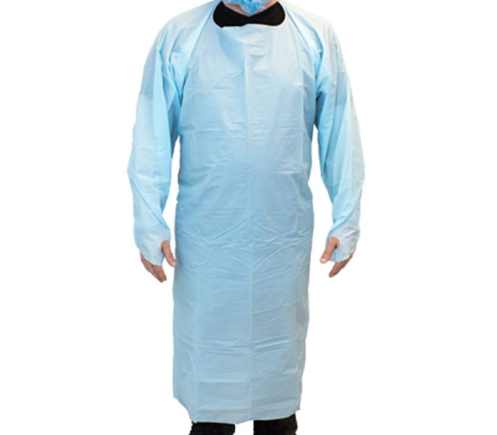 """10 Pack Blue CPE Coat Aprons 35"""" x 45"""". Disposable Polyethylene Aprons. Unisex Liquid-Proof Workwear. Protective Uniform Aprons for Men, Women. Die Cut Ties with Thumb Hole. Lightweight, Breathable."""