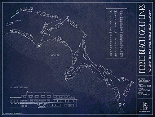 004 Golf - Pebble Beach Golf Links Blueprint Style Print (Unframed, 18