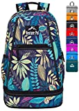 Venture Pal 35L Large Lightweight Packable Hiking Backpack with Wet Pocket & Shoes Compartment Travel Backpack & Day Backpack for Women Mens(Purple Leaf)