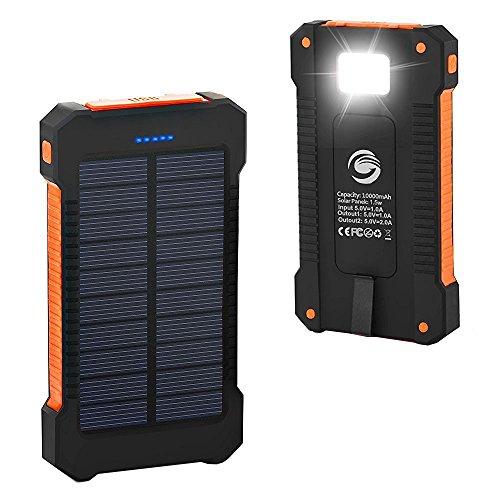 Solar Phone Charger Fkant 10000mah Portable Battery
