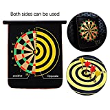 005 Ezyoutdoor 12 inches Double Sided Hanging Magnetic Traditional Dart Board 2 Targets with 4 Magnetic Darts Indoor Portable Travel Fun Gift For Children Adult Game